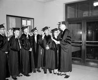 Colleges; Wayne State University; Board of Governors. James M. Hare swears in:. Leonard Woodcock. Benjamin D. Burdick. Dr. Michael Ference. Clair A. White. Dr. Dewitt T. Burton . Mrs. Jean McKee