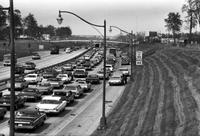 Traffic; Jam.--On I-94 at Allard, Harper Woods.--On East Jefferson at Chrysler Freeway exit.--On I-75 at 9-11 Mile Link opening north bound lane.--E. Grand Blvd. approach to Belle Isle.--Fisher X-way to John R.--I-94 at Chene.--Jefferies and Southfield interchange