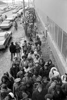 Unemployment; 1978. Unemployed men and women line up for jobs at the Ford River Rouge Plant, Miller Road, Gate 4