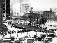 Unemployment; Detroit. Crowd in front of city hall. Line up at city hall