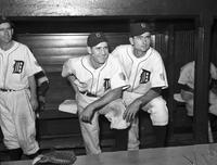 Swift, Bob (Robert); Baseball; Groups. With Paul Richards; Geo. (Birdie) Tebbets; Connie Mack
