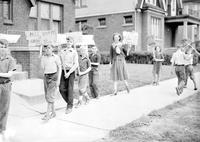Strikes; Playground; Detroit. -Children Picketing Lady's Home Who Took Their Ball