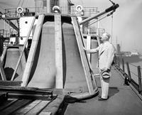 Colleges; University of Michigan; Carillon; . Unloading Bells at Ecorse.