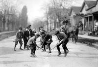 Boys; Playing Shinny In Street.