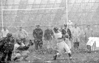 Colleges; University of Detroit; Baseball; Action vs Albion. Game played in snow storm.