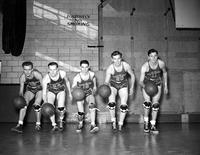 Colleges; University of Detroit; Basketball; Team. Chas. Adams; Chas. O'Brien; Frank Dulapa; Henry Lundren & John Gedda.