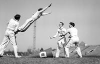 Colleges; University of Detroit; Cheerleaders; Cheer Leaders. Alan Gubb; Jerry Marks; Ted Sura; Frank Schroeder.