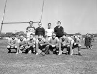 Colleges; University of Detroit; Football Miscellaneous; Old Time Players. Back row L to R:. Andy Farkas; Tom Connell; Eddie Barbour; Lloyd Brazil. Front row L to R:. Tony Nader; Jim McNamara; Leo Sullivan; Merrill Lardner; Joe Gillis; Tom Harvey; Harry Pisula