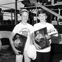 Soap Box Derby; Detroit; 1967. Kevin O'Keefe - Detroit Winner. Terry Brazil - Suburban Winner. For head shots of winners see under names of each.