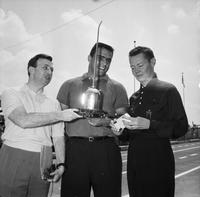 Soap Box Derby; Detroit; 1961; Oil Can Race.--Nick Pietrosante; Doc Greene & Sonny Eliot