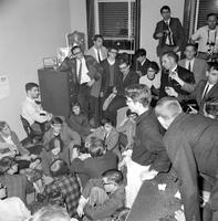 Wars; Vietnam. University of Michigan students stage sit-in at Selective Services Board; Ann Arbor, Michigan