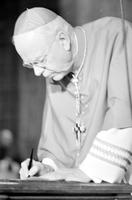Szoka, Edmund C. ; Archbishop of Detroit. -Official Presentation of Letter of Appointment . -At Evening Prayer Service, Blessed Sacrament Cathedral 5/14/81. -Some Pictures Show the Pope's Letter Being Read & Signed by Cardinal John F. Dearden