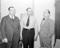 Bennett, Harry; Ford Motor Company; Groups. -With; Governor Murray D. Van Wagoner & R. J. Thomas. -Ford Strikes Settlement
