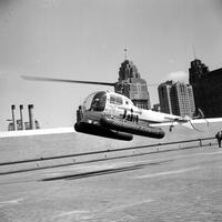 Aero; Aircraft; Helicopters.--On roof of Cobo Hall.--Helicopter Airways Service