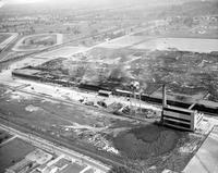General Motors; Plants; Transmission At Livonia; Aerial Views. Scene after the fire of 8/13/53