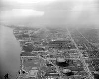 Aerial; West of Ambassador Bridge; Detroit; Waterfront.