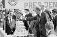 Carter, James Earl; United States President. -Presented with Birthday Cake at Ford-Wayne Plant