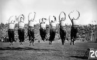 Colleges; University of Michigan; Cheer Leaders; 1938. right to left:. Chas. Jaslow. Kenneth Kimble. Art Trent. Bob Canning. Geo. Johnson. Ted Spangler. Harold Spurway