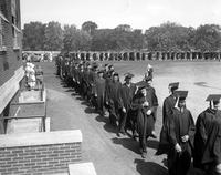 Colleges; University of Michigan; Commencement; 1935. Crowds in Yost Field House