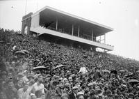 Colleges; University of Michigan; Buildings;Stadium. -Press Stand & Crowd