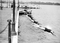 Detroit Yacht Club. -swimming. -outdoor swimming pool + diving board. -women's swim team 1929.