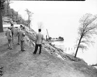 Great Lakes; levels. showing high water damage on Michigan & Eastern Michigan coastline. Date is 1954