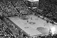 Basketball; Detroit Pistons vs. L. A. Lakers. At Silverdome. Aerial shot of court