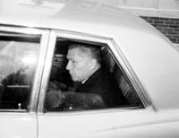 Hoffa, James R. ; Labor Union Leader. -Copy Made from Color TV. -Hoffa Photographed in Detroit, in Custody of Federal Marshall, En Route to Chicago