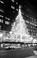 Christmas; Detroit; Downtown. Showing bldgs. lit for Christmas. J. L. Hudson store.