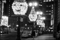 Christmas; Detroit; Downtown. Showing bldgs. lit for Christmas. Fort Street.