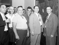 Labor Unions; Auto; UAW; Officials. Suspended officers trial. Maurice Sugar, Wyndham Mortimer, Ed Hall, George F. Addes, Richard Frankensteen, Walter N. Wells