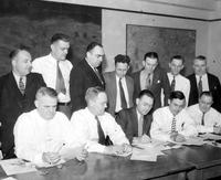 Labor Unions; Auto; UAW; Officials. National Council UAW. L-R front row:  Edward Hall, Homer Martin, Forest G. Woods, F. J. Dillon, Otto Kleinert & Thos. J. Ramsey. L-R back row:  F. C. Pieper, H. H. Richardson, John W. Pickering, M. J. Manning, Clyde V. Cook, Geo. J. Lehman