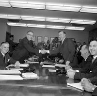 Labor Unions; Auto; UAW; General Motors 1961 1964. Louis Seaton, Leonard Woodcock and Walter P. Reuther