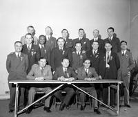Labor Unions; Auto; UAW; Officials. Homer Martin's new board. seated L-R:  Irvan Cary, Homer Martin & Jerry Aldred. 1st row L-R:  Fran P. Tucci, Fred Durrance, Frank Evans, Elmer Davis, Elmer Dowell, Peter Noll, Lester Washburn