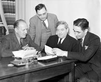 Labor Unions; Auto; UAW; Officials. Tracy N. Doll, Leo. Lamotte, James F. Dewey, & Emil Mazey