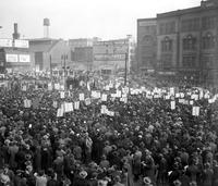 Labor Unions; Industrial; CIO. Mass meeting at Cadillac Square