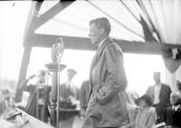 Lindbergh, Charles. -Celebration in Honor of Northwestern Field. -Crowds. -Lindbergh Speaking into Microphone.