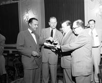 Linquist, Mel B. Ford Motor Co. with Kenneth Bannon, Walter Reuther & Johns S. Bugas