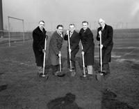 Michigan; Cities; Hamtramck. High school. Breaking ground for new stadium:  Dr. T. T. Dysarz, Mayor Joseph A. Lewandowski, M. A. Kopka, Hal Shields, E. M. Conklin