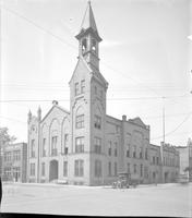 Michigan; Cities; Muskegon; City Hall; Court House; Hackley Hospital; Hackely Library; Old Peoples home; Post Office and Memorial Arch; Schools. 7 negs; glass