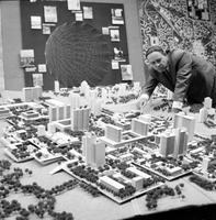 Michigan; Cities; Pontiac. model of downtown, Univ of Det. plan. Don Davidson