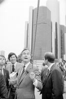 Bush, George; GOP Presidential Candidate; Former CIA Director; GOP Vice Presidential Candidate. -With; Governor William G. Milliken. -Georg Bush Campaigning at Hart Plaza During the Slovak Festival.