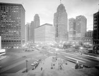 Detroit; Downtown; Night; Looking South From Campus Martius. 4 negs.