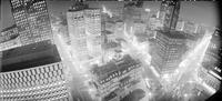 Detroit; Downtown; Night Scene; From Fort Shelby Hotel; From Atop Old National Bank Building. 4 negs. - 2 1/4