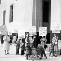 Picketing; Detroit; Peace Pickets. Protest nuclear bomb testing