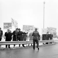 Picketing; Detroit; Refugees. Refugees from Hungary, Albanina, Lithuania and Other Soviet dominated countries protest arrival of Anastas I. Mikoyan, Soviet Deputy Premier.