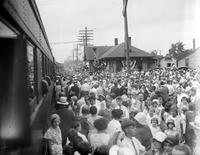 Railroads; Companies; Grand Trunk. Suburban service opening. Crowds.