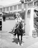 "Indians; ""Chief Redwing""; A Cherokee Indian riding Pony ""Chestnut Hal"". Photographs."
