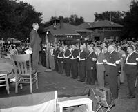Wars; World; # 2; Detroit; Volunteers. -John S. Bugas Gives FBI Oath to 50 Grosse Pointe Shores Volunteer Police and Firemen