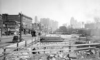 streets; Michigan. between Sixth & Eighth. Widening Michigan Avenue. - Bldg. Being torn down between 6th and Brooklyn